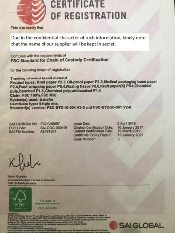 Сертификат FSC стандарта